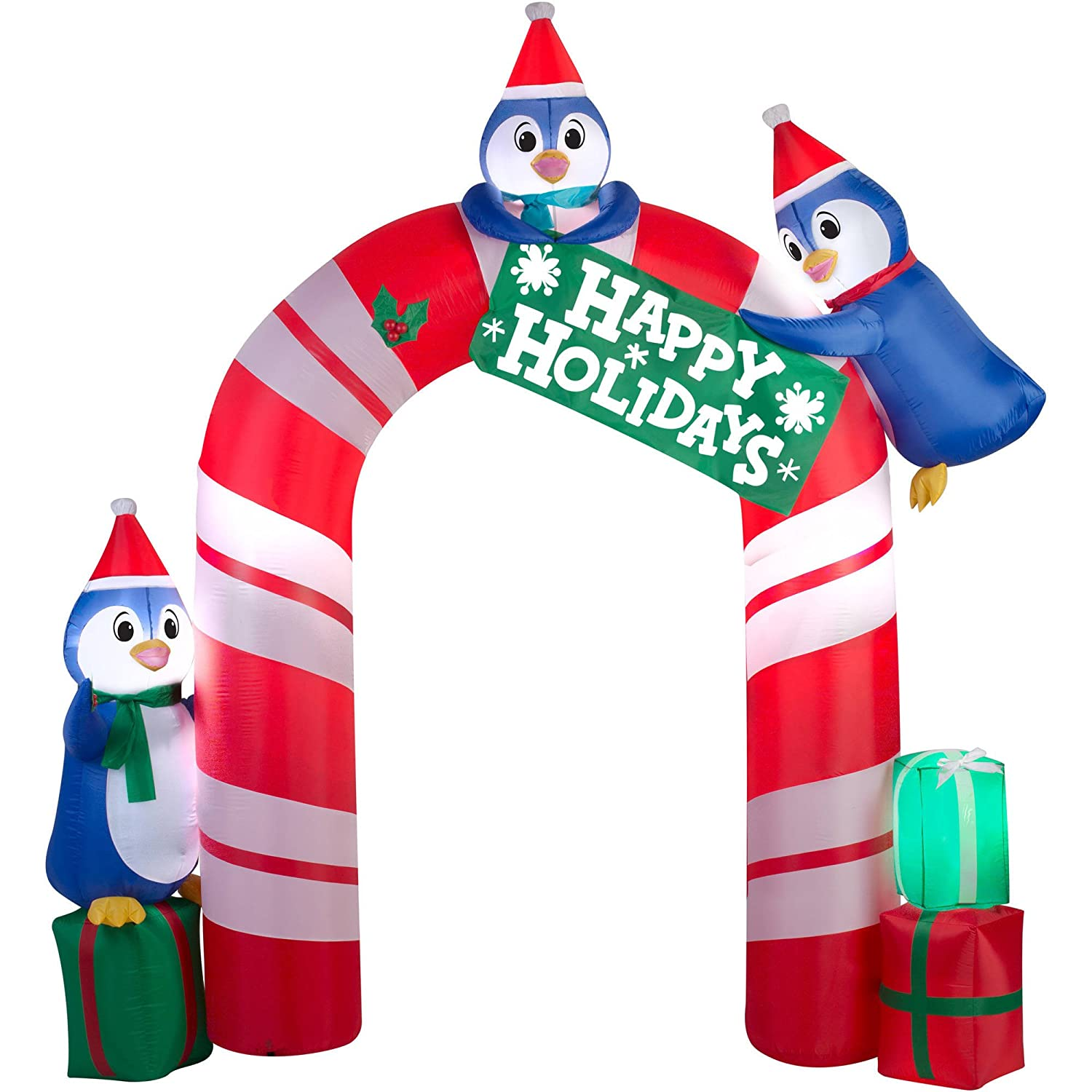Amazon.com: Christmas Inflatable Happy Holidays Penguin Archway by ...