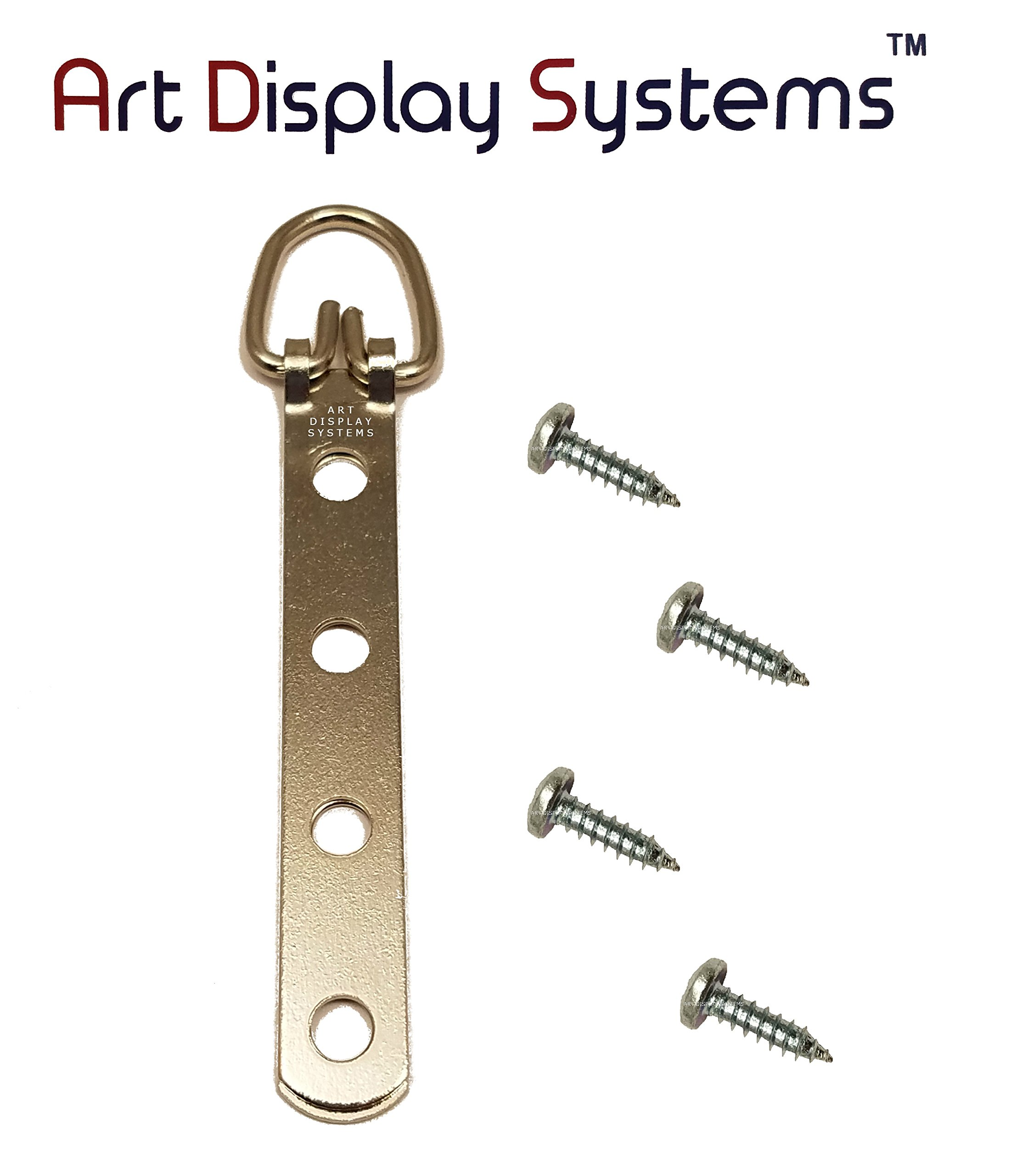 ADS 4 Narrow Duty ZP D-Ring Hanger with 6 1/2 Screws – Pro Quality – 25 Pack by ART DISPLAY SYSTEMS