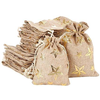 Amazon.com: 30 bolsas de arpillera con cordón, bolsa de ...