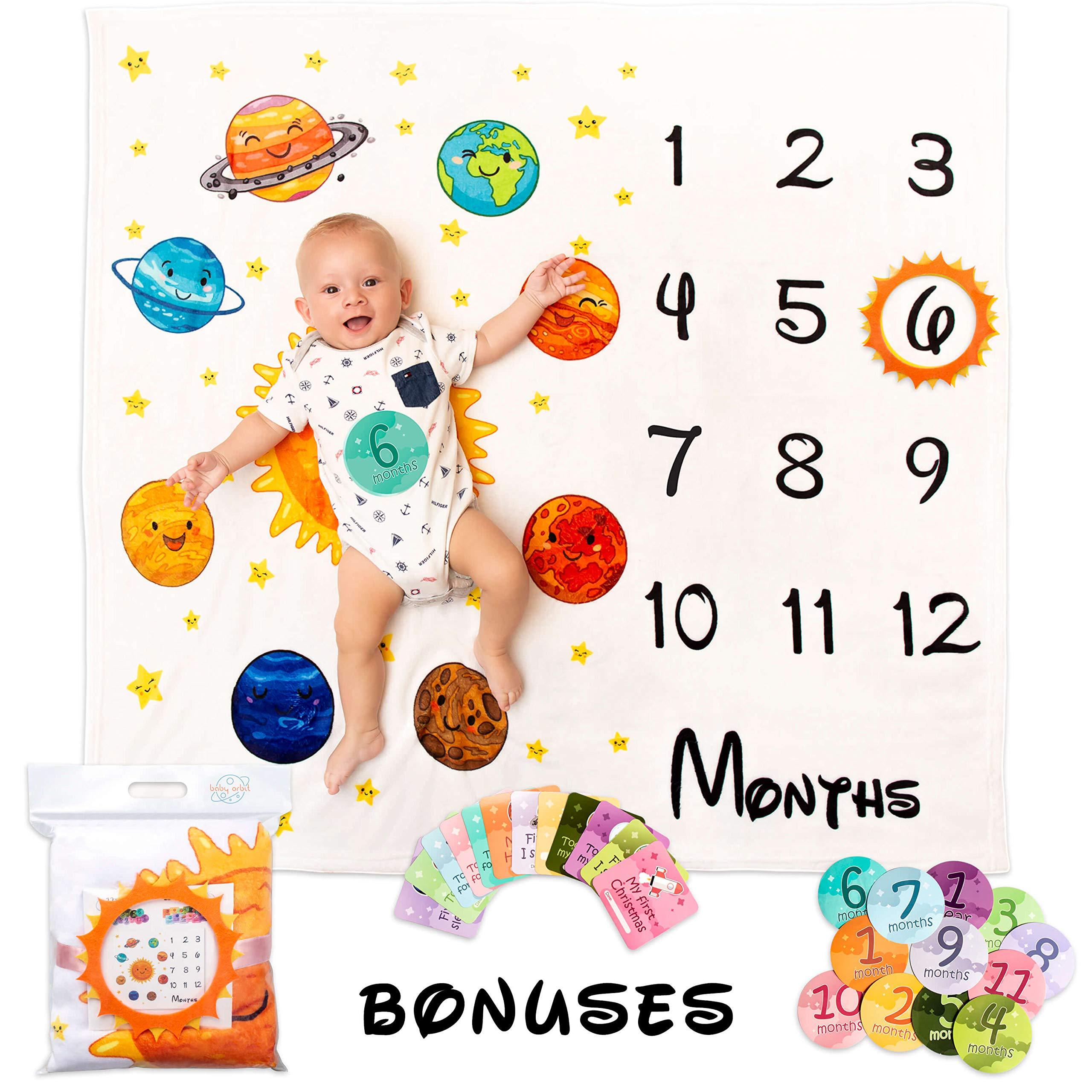 BabyOrbit Baby Monthly Milestone Blanket - 43x47 inches | 12x Card + 12x Sticker by Baby Orbit