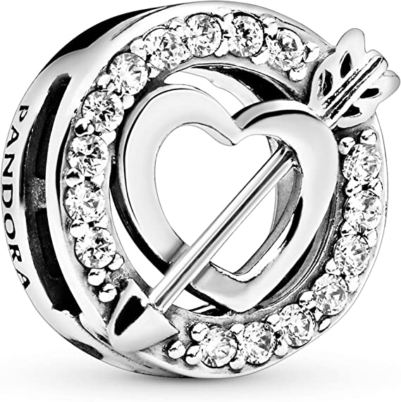 Pandora Jewelry Reflexions Heart and Arrow Clip Cubic Zirconia Charm in  Sterling Silver