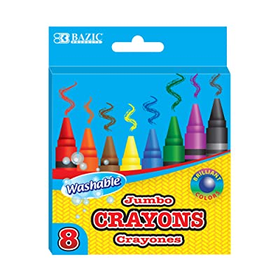 BAZIC 8 Color Washable Premium Jumbo Crayons, Coloring Set, School Art Creative Gift for Kids Age 3+: Office Products