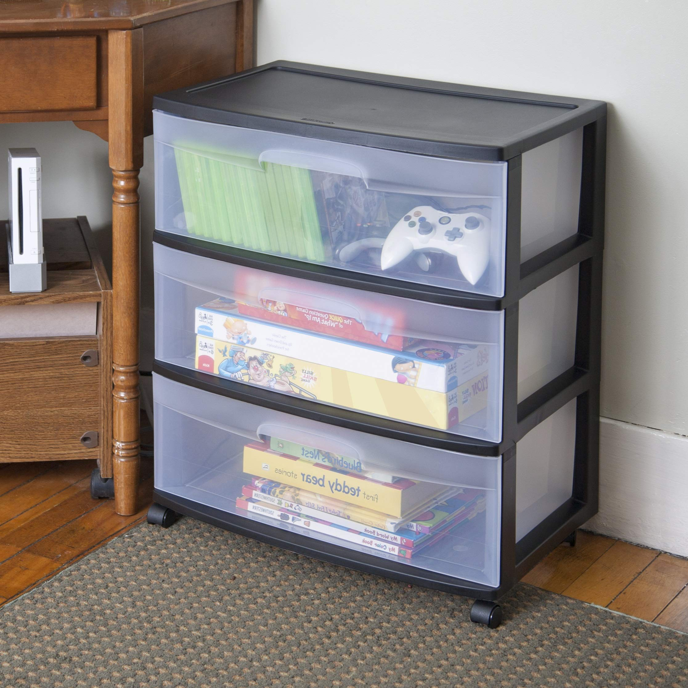 Clear Plastic Storage Cart with Wheels and 3 Drawers, Deep Drawer Box Chest Organizer, Wide Rolling Bins with Casters, Large Home Cabinet for Bedroom, Bathroom, Office Accessories, Clothes