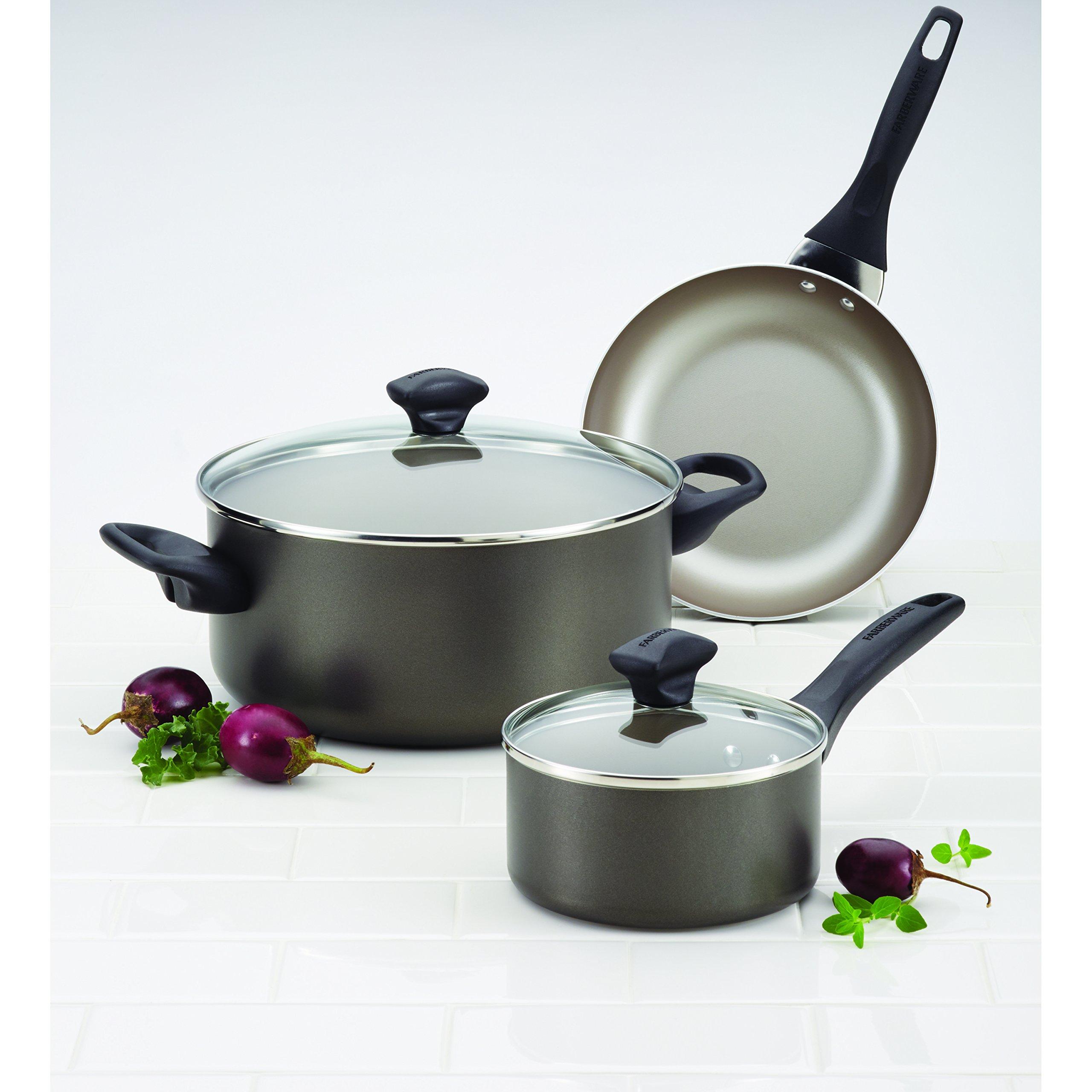 Farberware Dishwasher Safe Nonstick Aluminum 15-Piece Cookware Set, Pewter