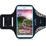 BFSPORT Sweatproof Running Armband with Touch Sensor & Fingerprint Unlock & Earphone Access & Key Holder & Reflective Band for iPhone 7/6S/6 Plus and Most Other Phone Models Up To 5.5""