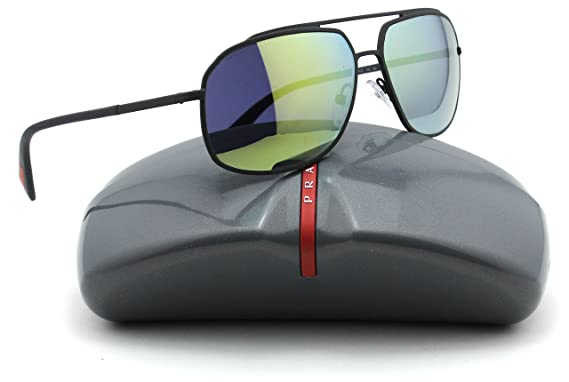 45f63d8e2291 Prada 56RS Aviator Metal Unisex Polarized Sunglasses (Grey Rubber Frame,  Green Mirror Lens TIG4J2