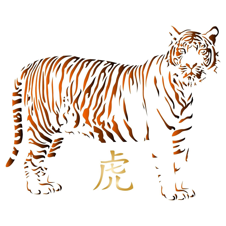 Tiger Schablone – wiederverwendbar African Big Cat Animal Wildlife Schablonen Schablonen Schablonen für Malerei – zur Verwendung auf Papier Projekte Scrapbook Tagebuch Wände Böden Stoff Möbel Glas Holz usw. L B07FM87YFK | New Style  4397b3
