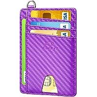 FurArt Minimalistisk kreditkortshållare, RFID-blockeringskort plånbok, smal plånbok för män och kvinnor, Lila (Lila…