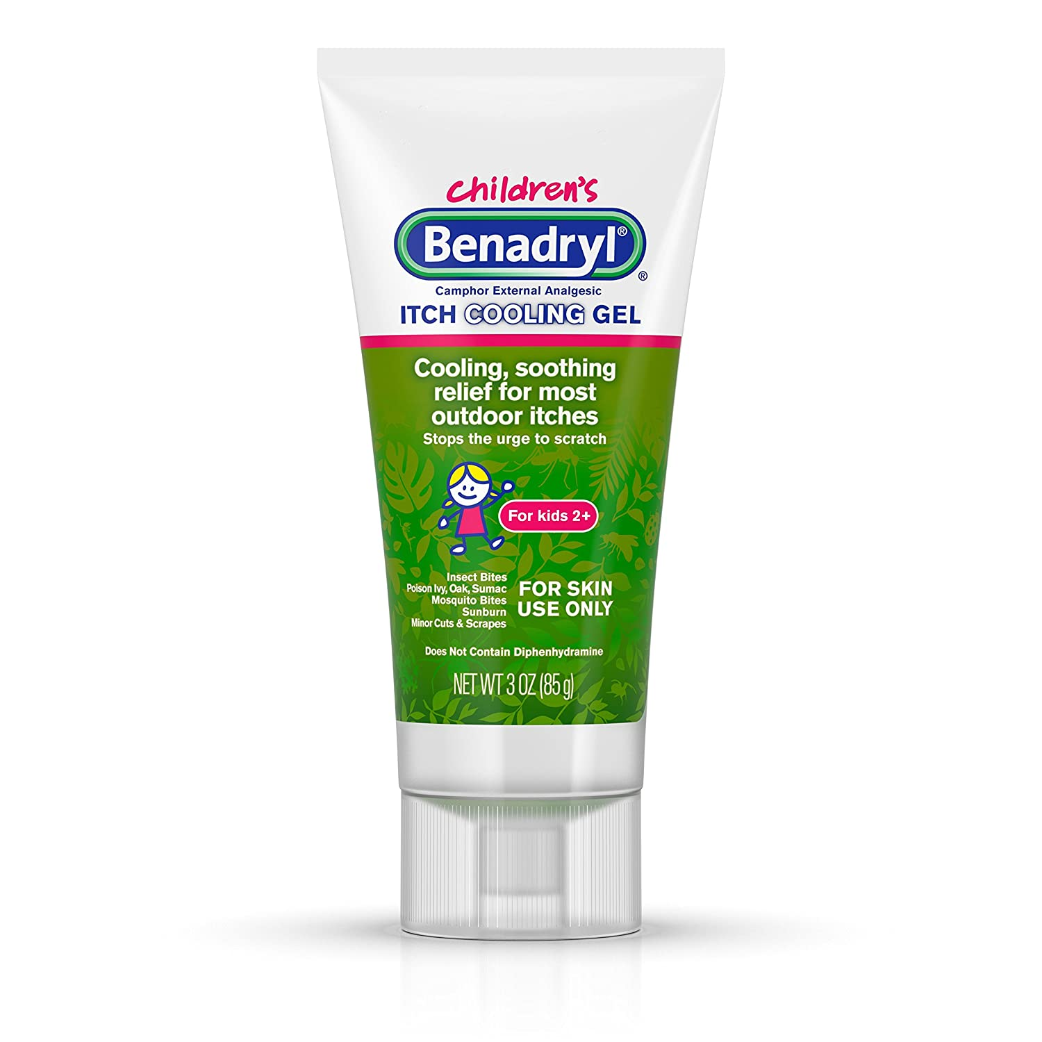 Benadryl Anti-Itch Cooling Gel for Kids, Topical Camphor Gel to Relief Pain & Itching of Most Outdoor Itches, Travel Size, 3 oz (Pack of 3)