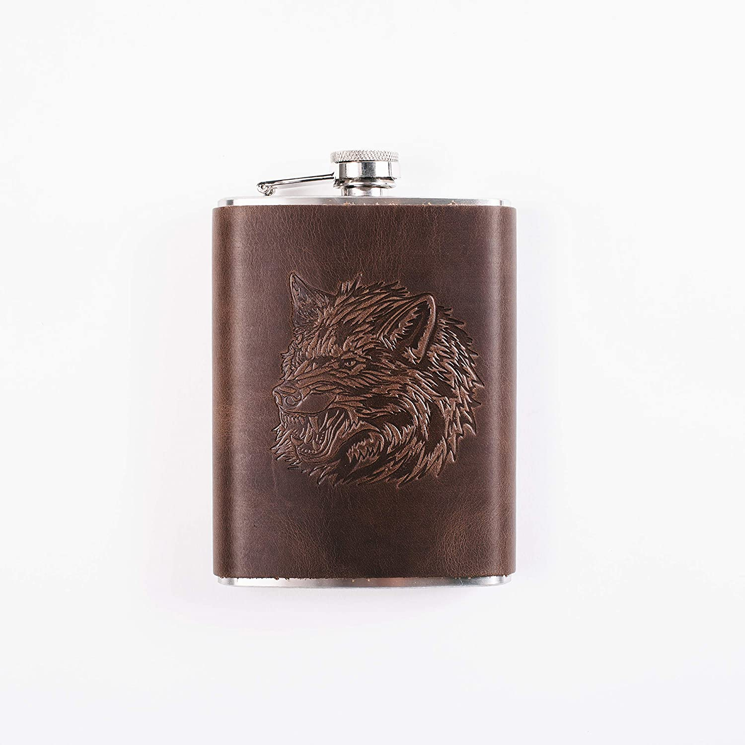 Hand Made Full Grain Leather Stainless Steel Flask Brown Leather Flask 8oz Wolf Hip Flask Flasks for Men 8 oz Unique Gift for Men Pocket Liquor Flask