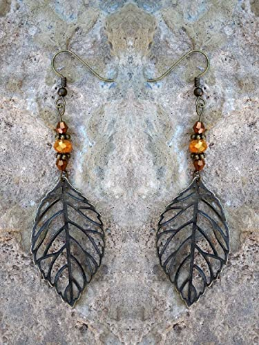 Leaf Earrings In Earth Tone Autumn Colors