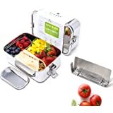 Ecozoi Extra Large Leak Proof Stainless Steel Bento Lunch Box with Mini Container and Removable Divider