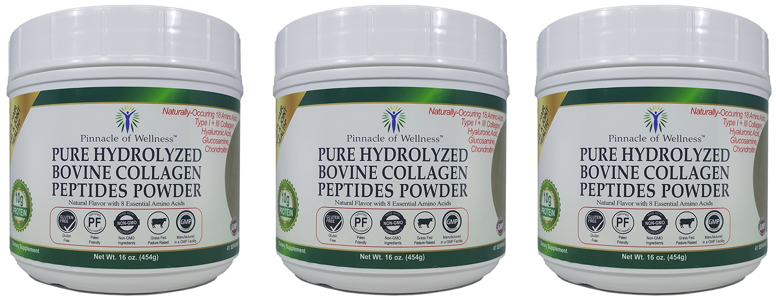 Pinnacle of Wellness Pure Hydrolyzed Bovine Collagen Peptides Powder - Natural Flavor - 41 Servings 16.0oz (454g)