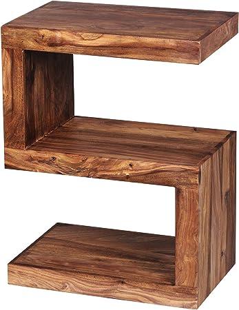 FineBuy Beistelltisch Massiv Holz Sheesham 60 cm Wohnzimmer