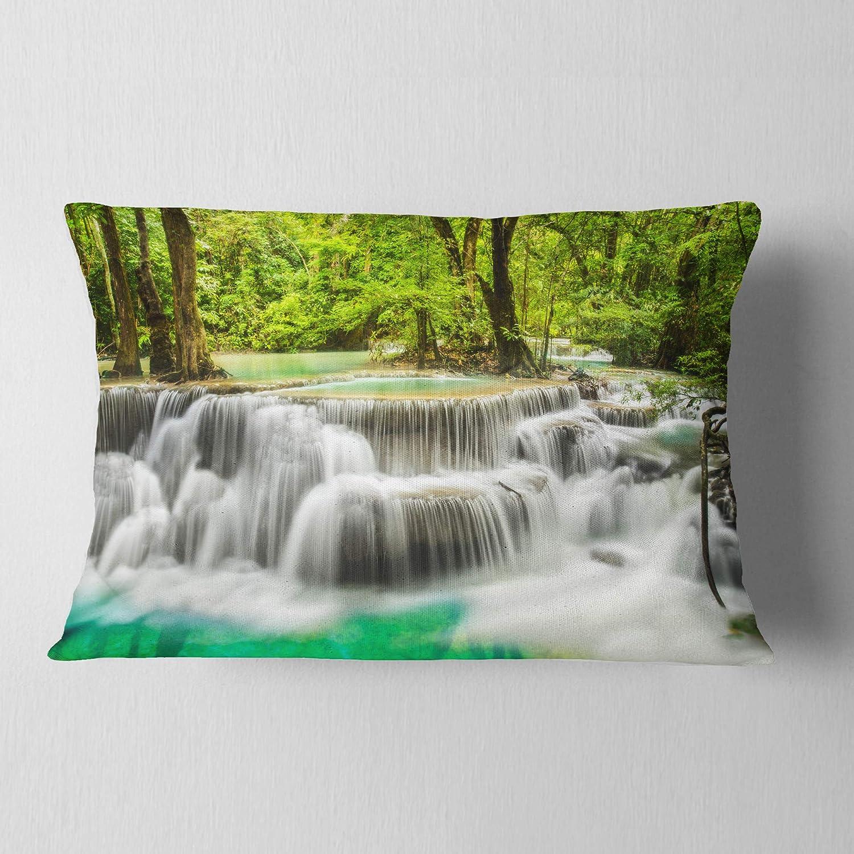 Sofa Designart Cu7137 12 20 Panoramic Erawan Waterfall Landscape Photography Throw Lumbar Cushion Pillow Cover For