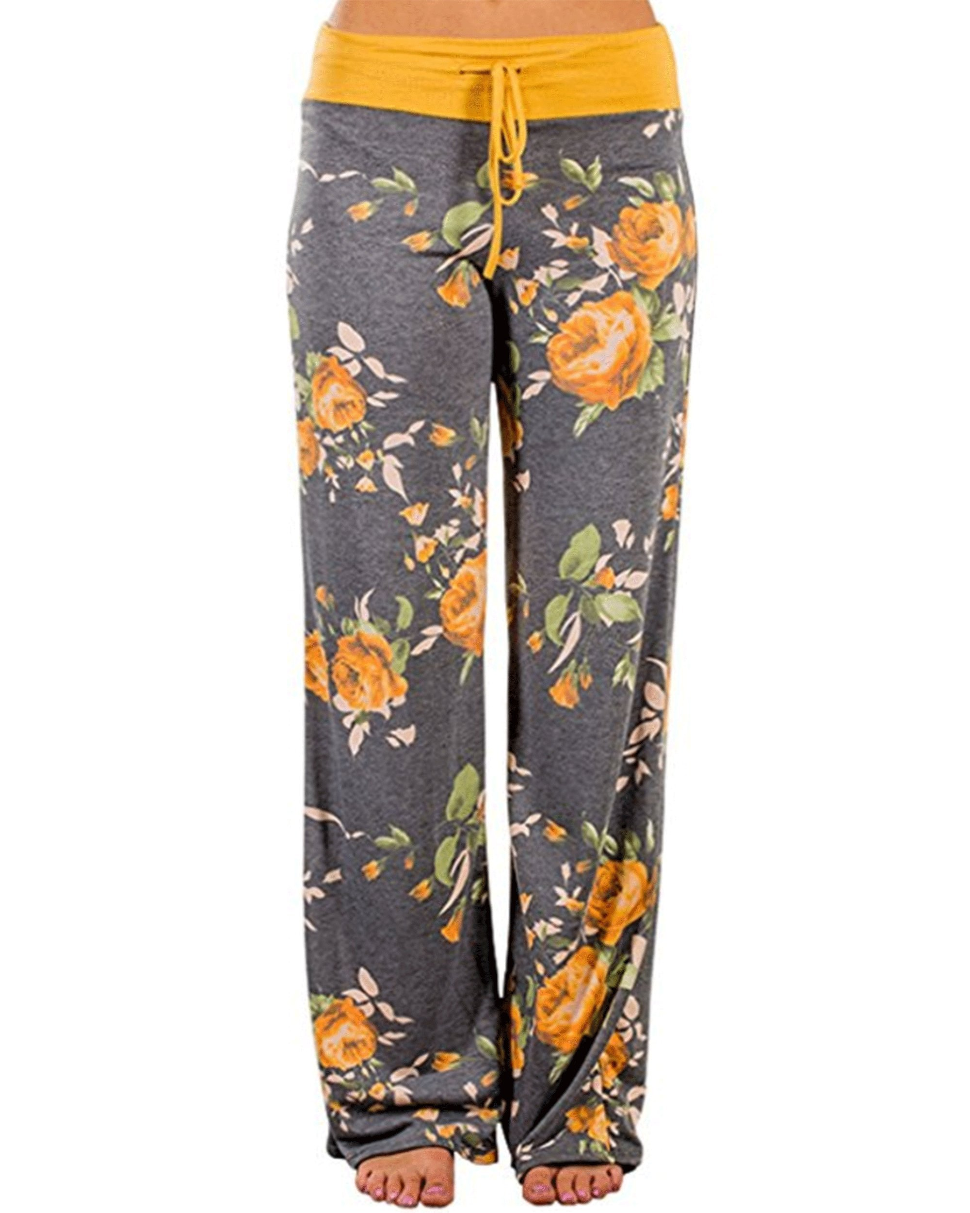 AceIce Women's Comfy Stretch Floral Print Lounge Pants Casual Drawstring Palazzo Pants Wide Leg Pajama Pants (Yellow, Tag S= US 2-4)