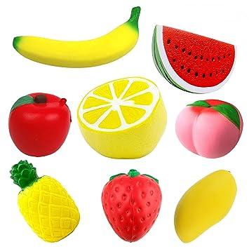 9997e73fcd1 Prime Pack - 8 pcs Jumbo Squishies - Slow Rising Fruit Squishes - Apple  Banana Lemon Mango Peach Pineapple Strawberry Watermelon - Cream Scented  Kawaii ...