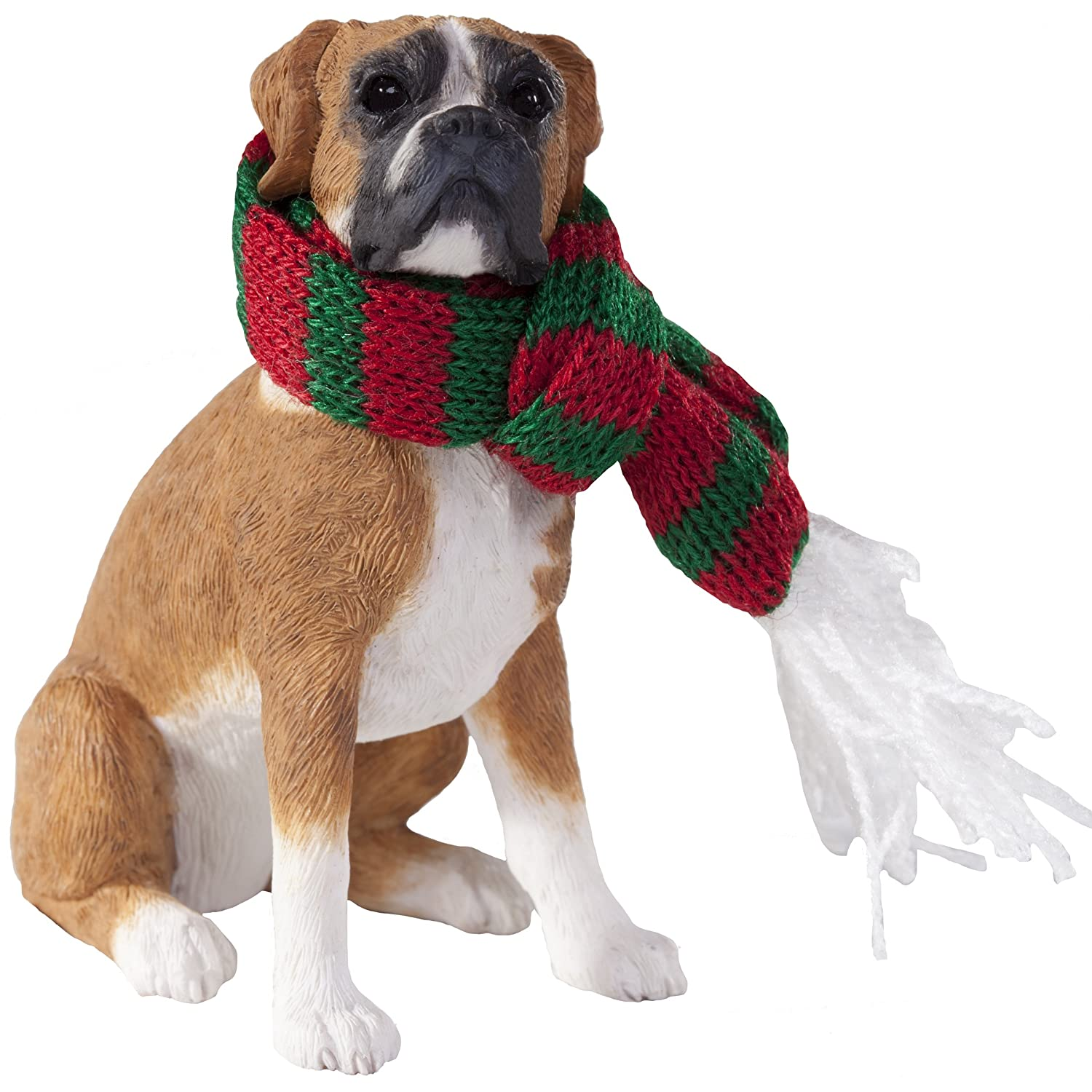 Amazon.com: Sandicast Fawn Boxer with Red and Green Scarf ...