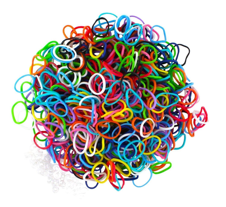 ETHAHE 300 Loom Rubber Bands Multicolores sans Latex pour Bracelets avec 12 C-Attaches