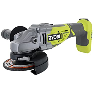 Ryobi P423 18V One+ Brushless 4-1/2  10,400 RPM Grinder and Metal Cutter w/ Adjustable 3-Position Side Handle and Onboard Spanner Wrench (Battery Not Included, Power Tool Only)