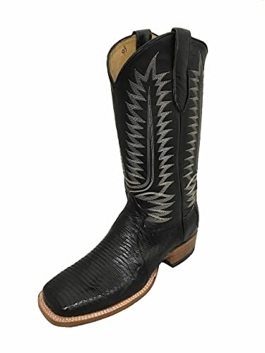 2ab321191b6 Amazon.com | Black Square Toe Lizard Western Cowboy Boot Exotic ...