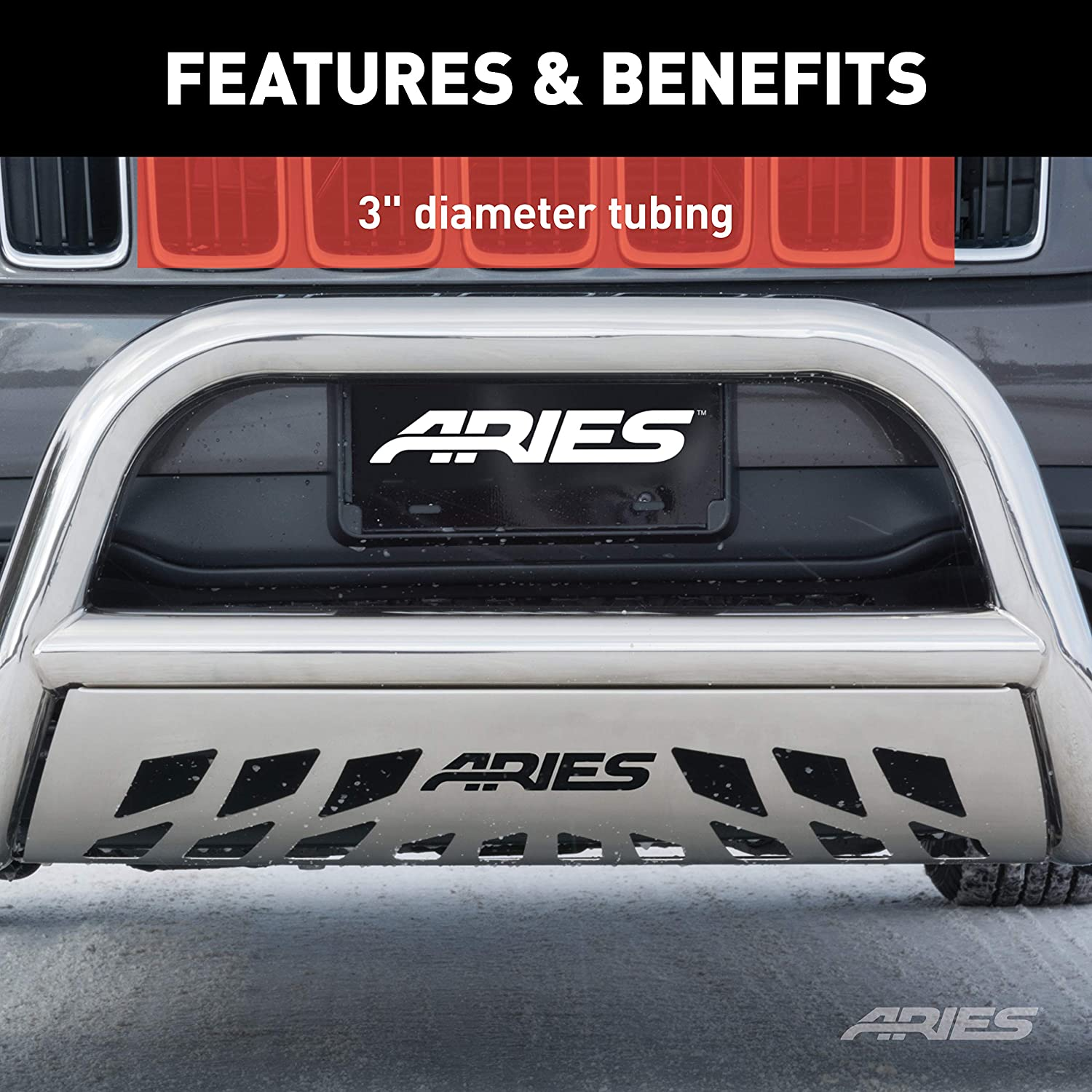 Aries 35-2004 Stainless Steel Bull Bar with Skid Plate