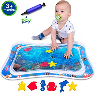 Inflatable Tummy Time Water Play Mat for Baby & Infant with Wider Hole for Easier Filling, Pump Included, CPC Certified for Child Safety. Colorful, Playful Sea Images