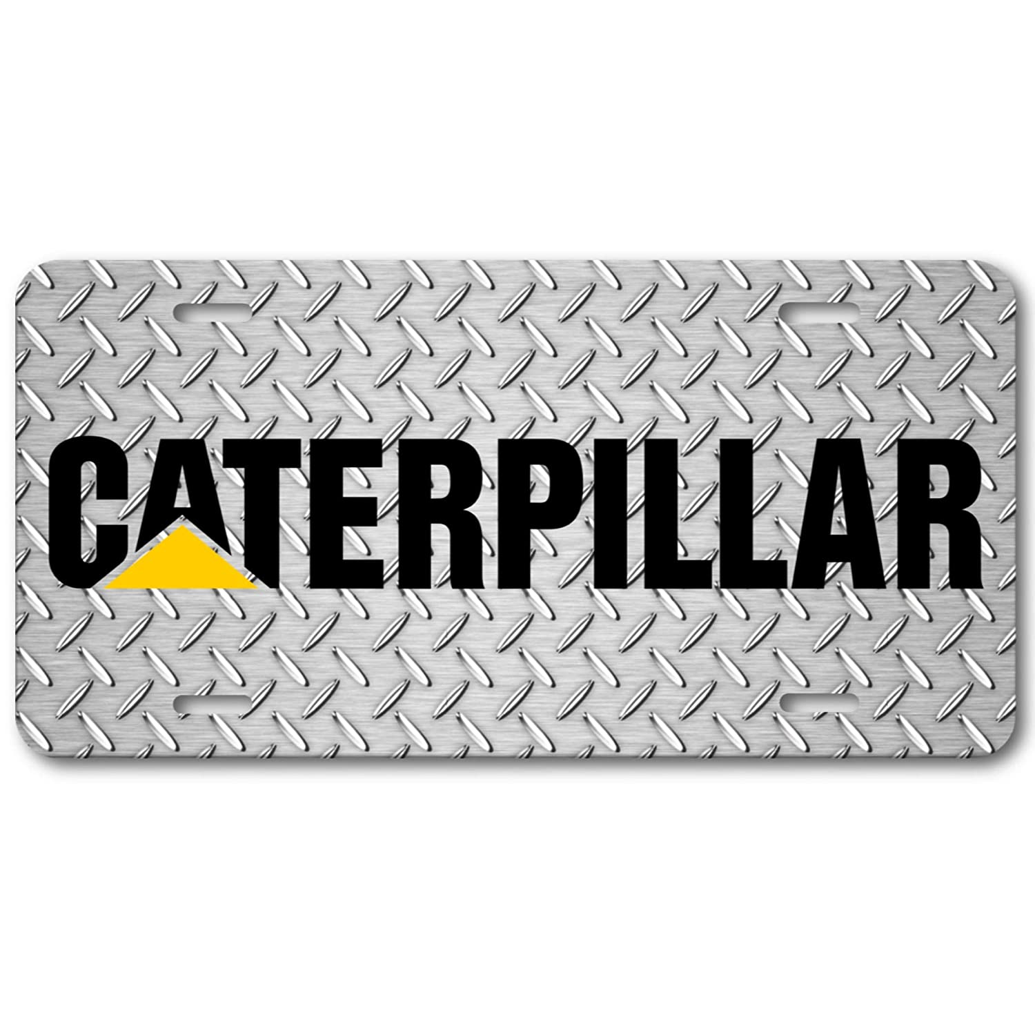 Voss Collectables Caterpillar Rugged Metal Aluminum Vanity License Plate Tag Car Truck SUV
