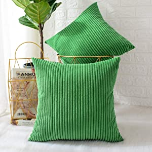 MERNETTE New Year/Christmas Decorations Corduroy Soft Decorative Square Throw Pillow Cover Cushion Covers Pillowcase, Home Decor for Party/Xmas 20x20 Inch/50x50 cm, Pine Green, Set of 2