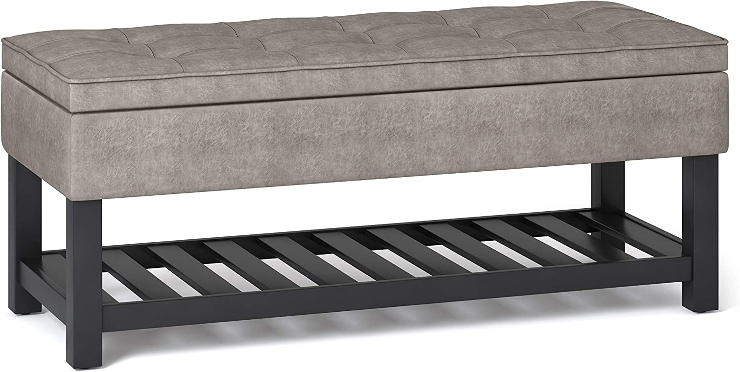 SIMPLIHOME Cosmopolitan 44 inch Wide Traditional Rectangle Storage Ottoman Bench with Open Bottom in Distressed Grey Taupe Faux Leather