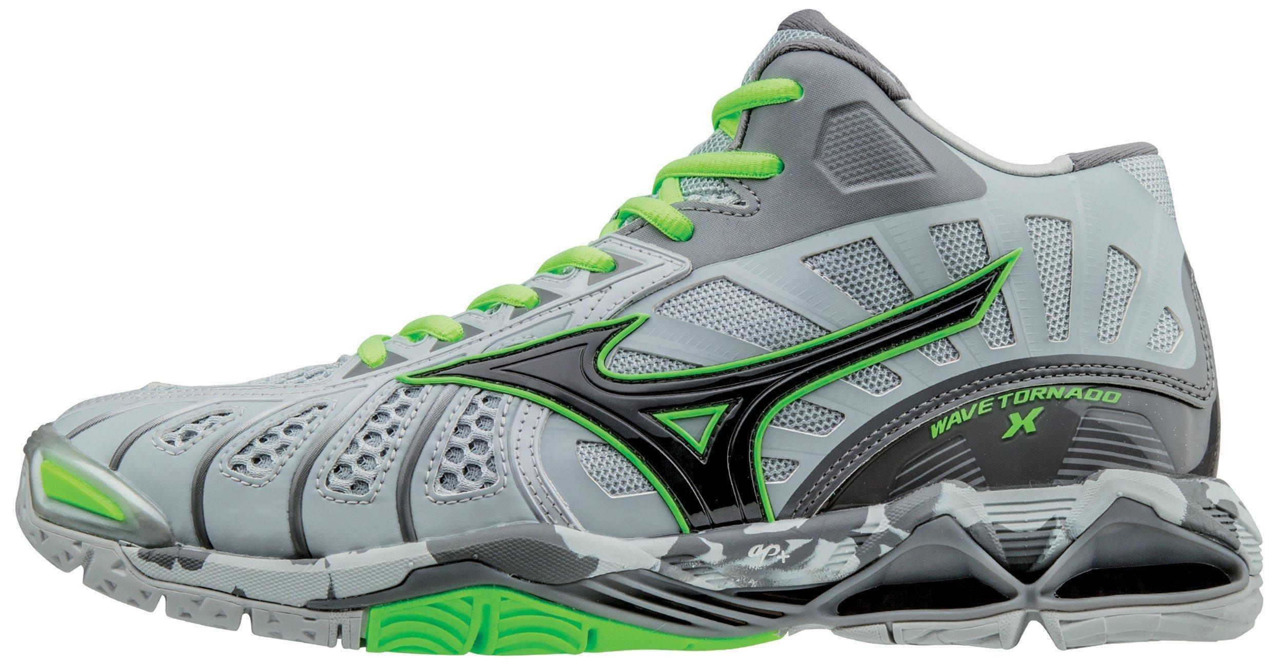 Mizuno Men's Wave Tornado X Mid Volleyball Shoe, Grey/Green Gecko, 16 D US