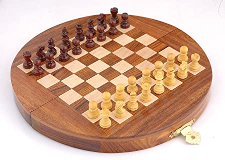 Ages Behind Wooden Folding Chess With Magnetic Pieces (Brown, 17.5 X 17.5Cm)