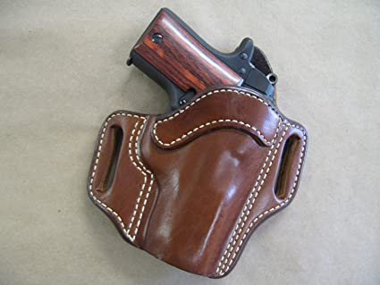 Kimber Micro 9mm OWB Leather 2 Slot Molded Pancake Belt Holster CCW TAN RH