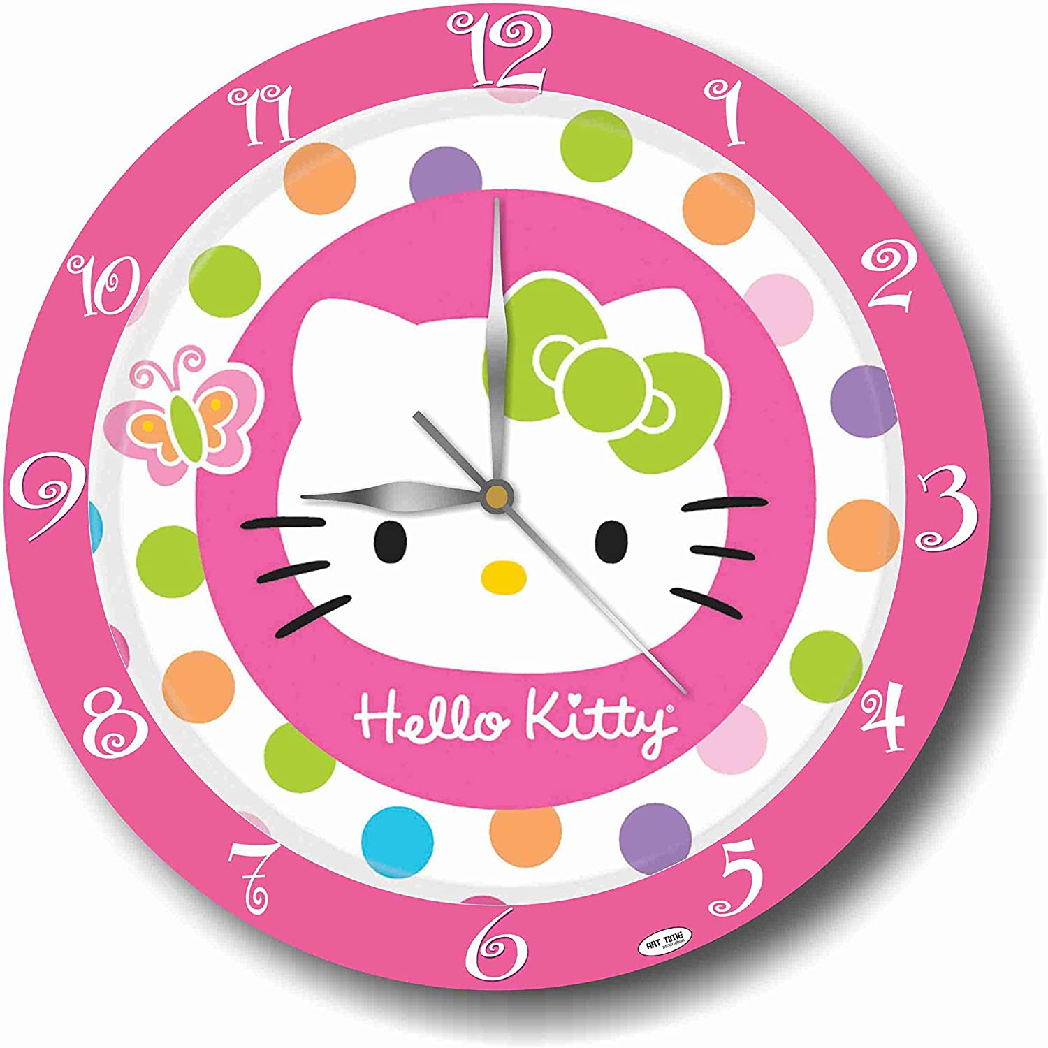 Art time production Hello Kitty 11'' Handmade Wall Clock - Get Unique décor for Home or Office – Best Gift Ideas for Kids, Friends, Parents and Your Soul Mates