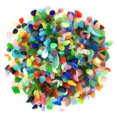 TR318 Crystal Quartz Small Tumbled Chips Stone Jewelry Gemstone Natural Rocks Irregular Shape Gravel Healing Home Decorative Crushed Stones for Vases Plants Succulents Garden 1 Pound (Colorful Opal) : Garden & Outdoor