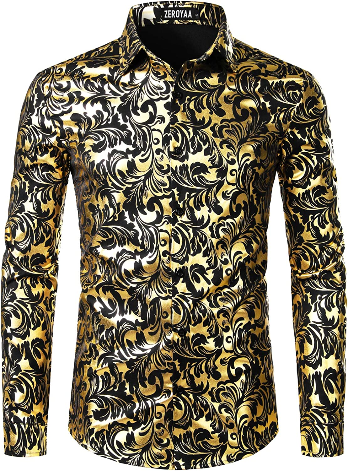 YYear Mens Party Button up Stylish Club Long Sleeve Metallic Dress Shirts