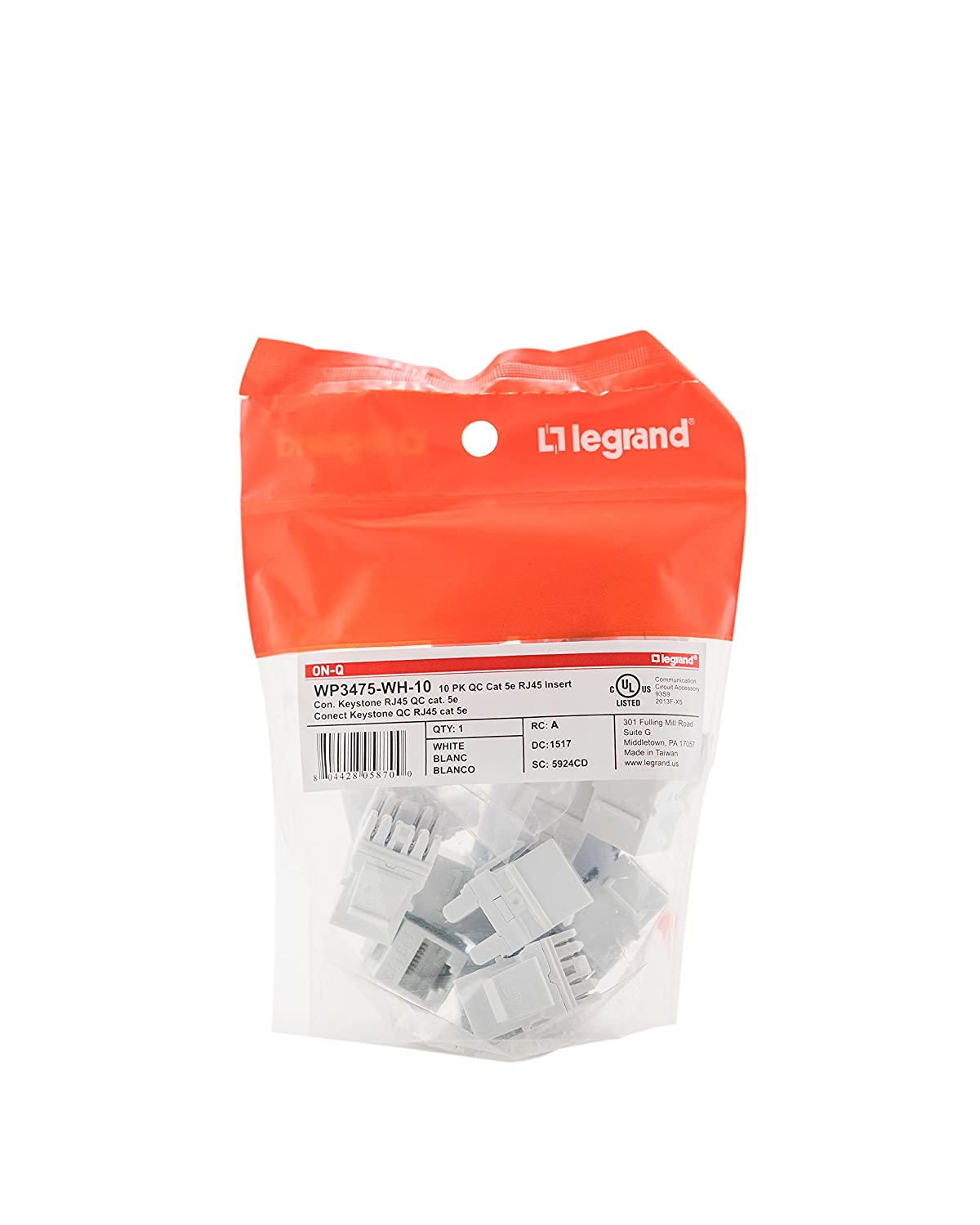 Legrand - On-Q WP3475WH10 Cat5e RJ45 Quick Connect Keystone ... on