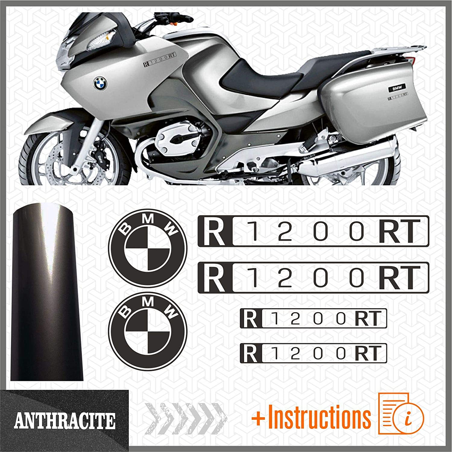 Anthracite 6pcs adh/ésif Compatible avec Les Motos R1200 RT BMW Motorrad R 1200 R1200RT