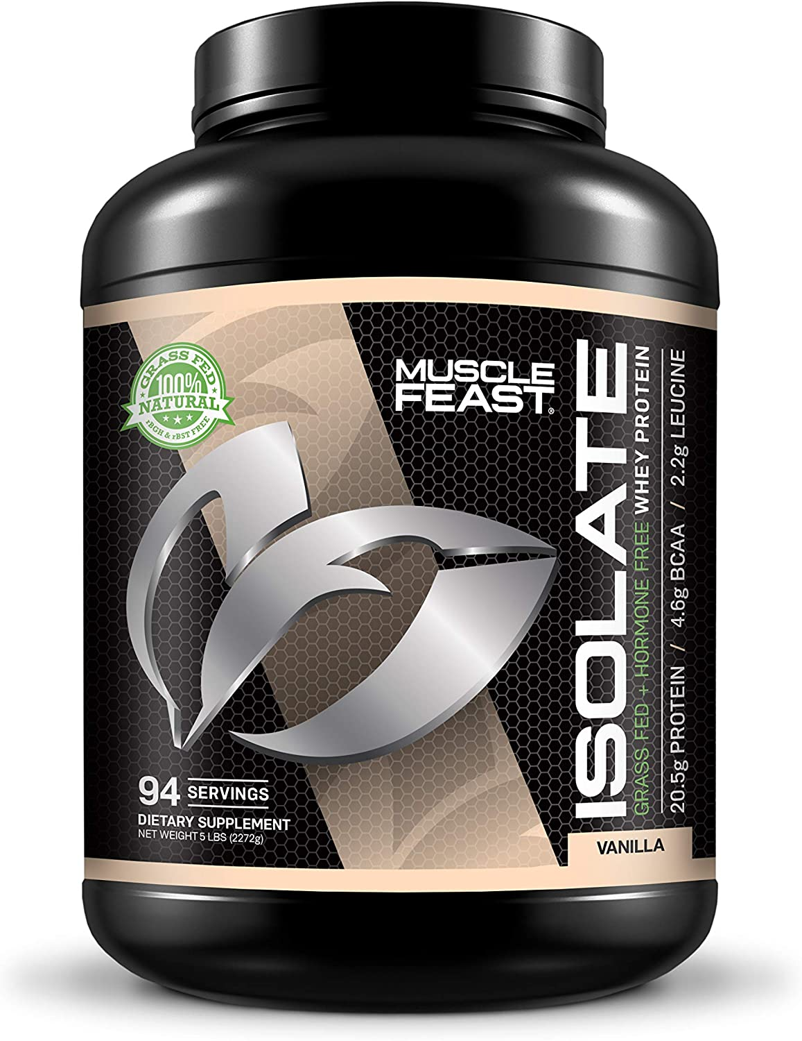 Muscle Feast Grass Fed Whey Protein Isolate, All Natural, Hormone Free, Fast Absorbing, 100% Pure Isolate, 20.5g Protein, 88 Calories (Vanilla, 5lb) 811grciH-yL
