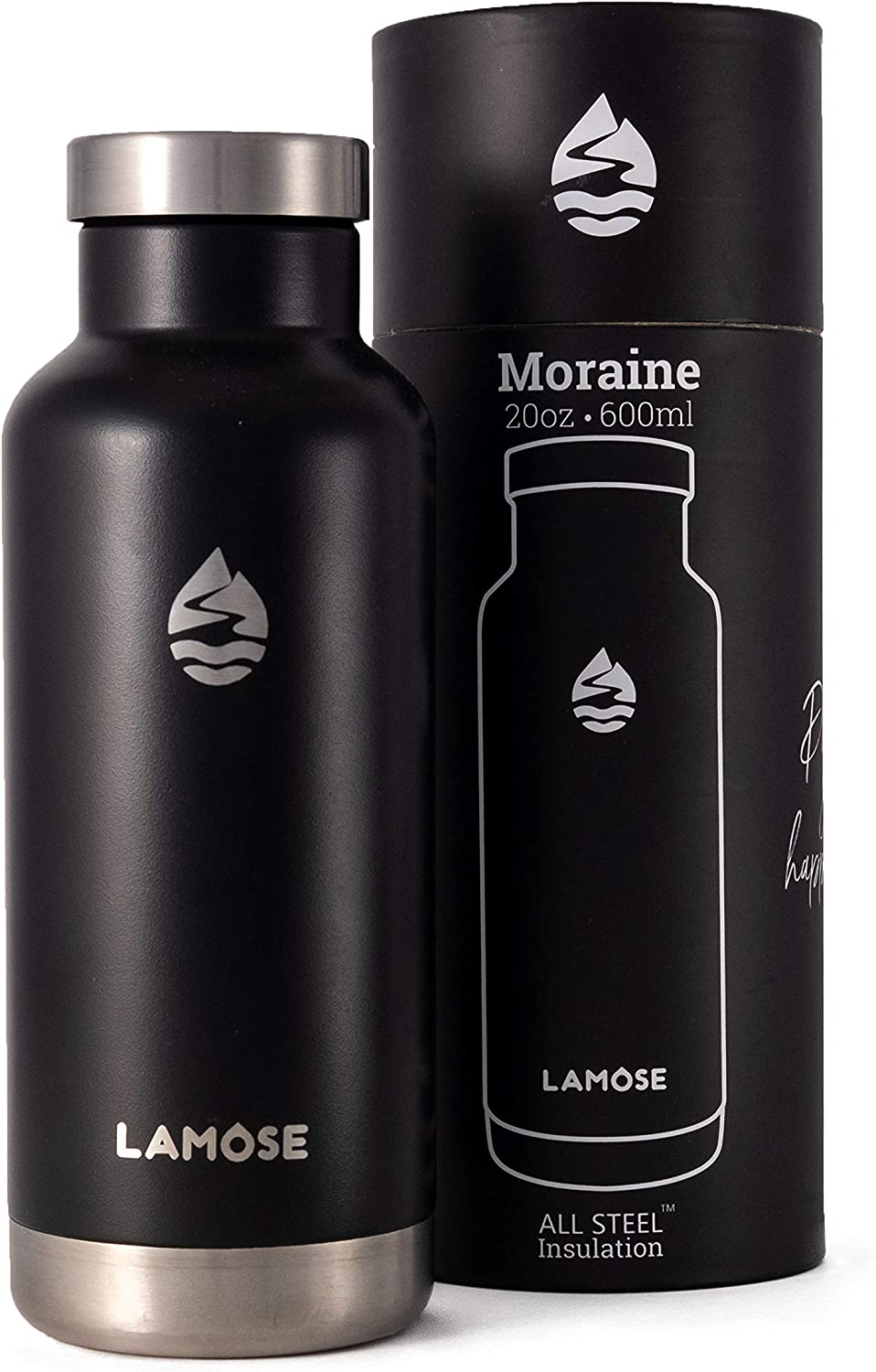 LAMOSE Insulated Water Bottle, Stainless Steel, Double Wall Vacuum Insulation, Wide Mouth 12 hrs hot/24 hrs Cold, Lifetime Manufacturer's Warranty, Scratch Resistant Coating Design