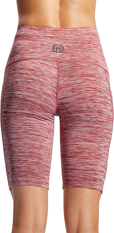 Neleus Womens Workout Compression Yoga Shorts with Pocket