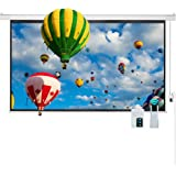 """Cloud Mountain 100"""" 16:9 HD Electric Projector Screen Remote Control Home Theater TV Motorized Wall Mounted Ceiling Projection Screen 1.3 Gain Matte White"""
