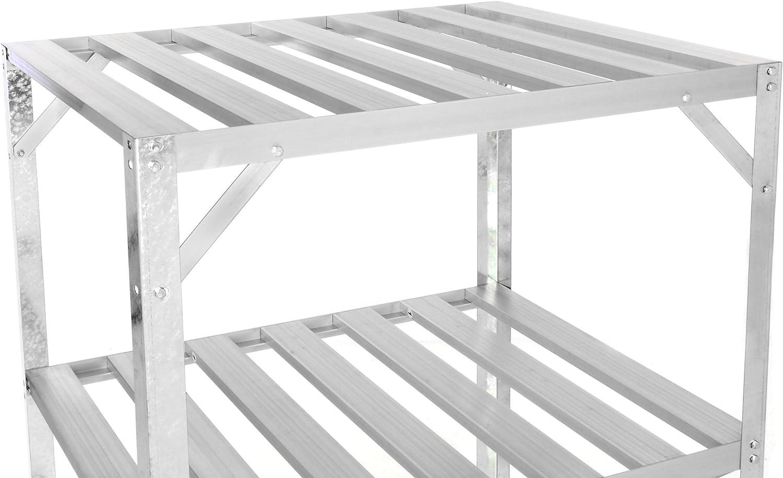 Invernadero Estantería aluminio stand Macetero mesa 62 x 50 x 114 cm para invernadero Sótano Invernadero despensa Trastero estante Fácil, resistente a la intemperie, por balda aprox. 50 kg, 3 baldas.: Amazon.es: Jardín