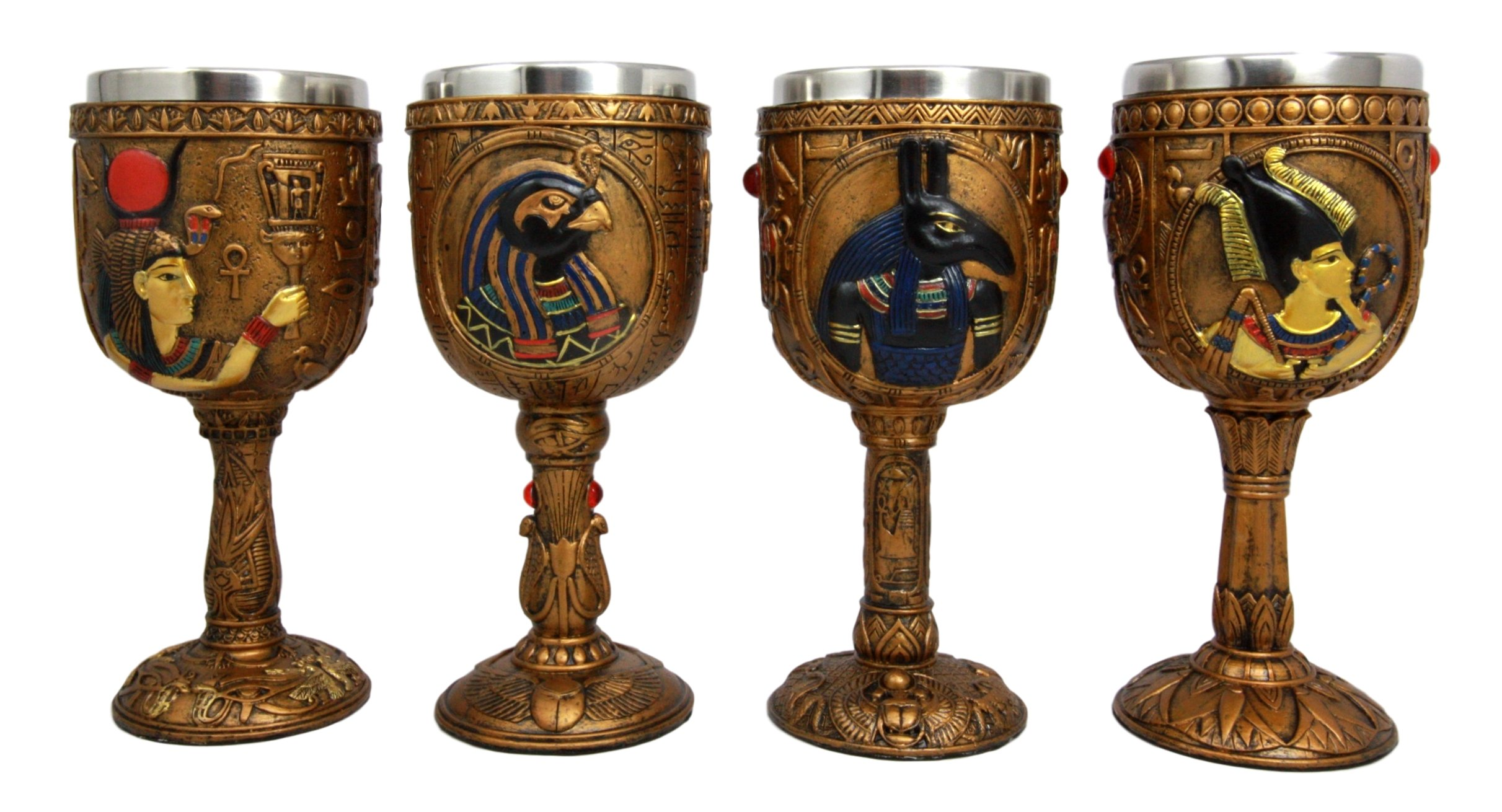 Atlantic Collectibles Ancient Egyptian Deities Horus Hathor Seth and Osiris 6oz Resin Wine Goblet Chalice With Stainless Steel Liner Set of 4
