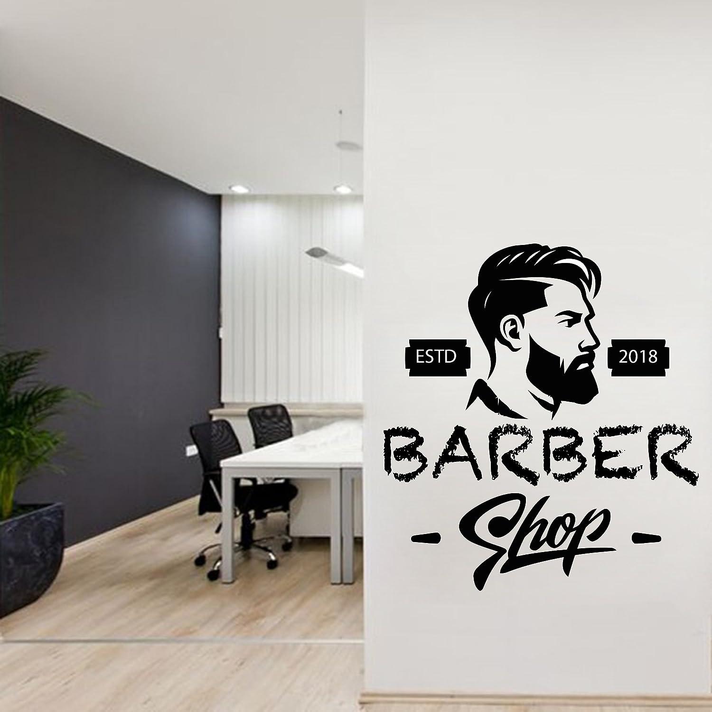 Amazon com barber wall decal personalised barber shop man salon haircut beard face tools logo salon sticker 382re handmade