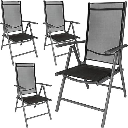 TecTake Lot de aluminium chaises de jardin pliante avec accoudoir diverses couleurs et quantités au choix (Anthracite | 4 chaises | no. 401634)