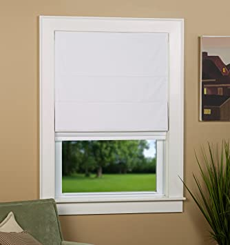 green mountain vista thermal blackout cordless roman shade 27 by 63inch white