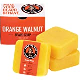 Tame's Orange Walnut Beard Soap - Works as a Natural Beard Wash - Shampoo and Conditioner - Exfoliating Face and Body Scrub -