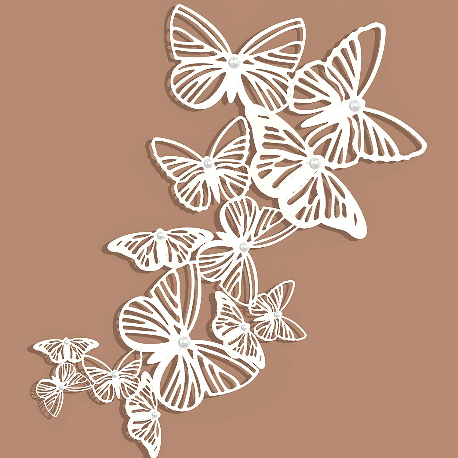 pinkblume White Butterflies Decorations 3D Butterflies Wall Art Decals Stickers DIY Removable Paper Pearl Butterfly for Kids Room Living Room Nursery Bedroom Showcase Wall Decor(36PCS)