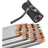 (48 Colored Pencils +1 Pencil Wrap)Ipow Assorted Color Marco Raffine Drawing Art Supplies with Roll UP Washable Canvas Pencil Bag Pouch Set for Artist Sketch, 2 Direction Buckle for Different Usage